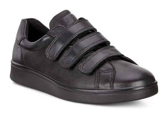 ECCO Soft 4 Strap Sneaker (BLACK/BLACK)