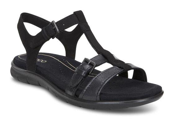 ECCO Babett T-Strap Sandal (BLACK/BLACK)