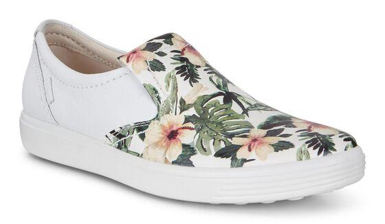 Slip-on ECCO Soft 7 pour femmes (WHITE/FLOWER PRINT)