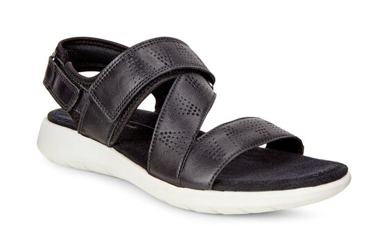 ECCO Soft 5 Cross Strap Sandal (BLACK/BLACK)