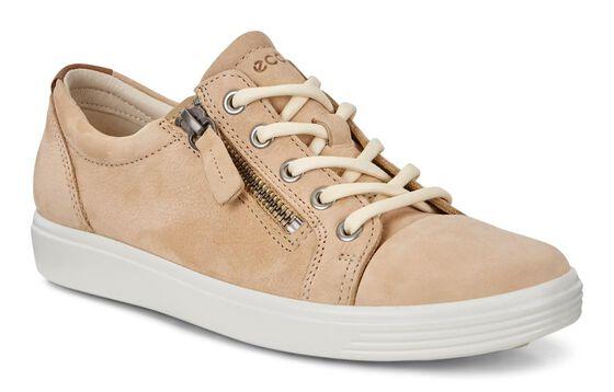 ECCO Womens Soft 7 Side Zip Sneaker (POWDER)