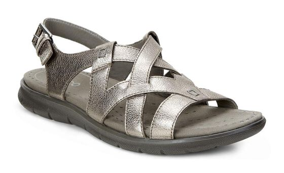 ECCO Babett Sandal Cross Strap (WARM GREY METALLIC)