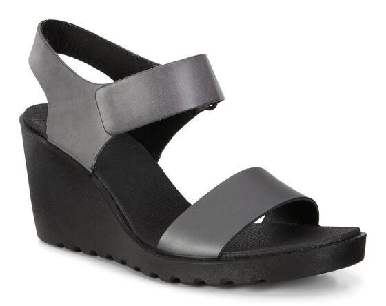 ECCO Freja Wedge Strap Sandal (DARK SHADOW/MAGNET)