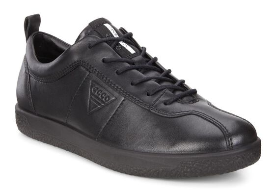 ECCO Womens Soft 1 Sneaker (BLACK)