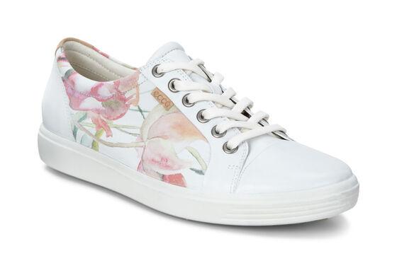 Sneaker ECCO Soft 7 pour femme (WHITE FLORAL PRINT/WHITE/POWDER)