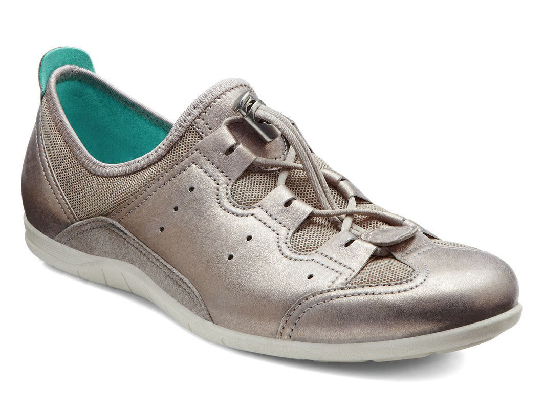 ECCO Bluma Toggle Lacing Leather and Textile Sneakers